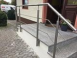 Geländer Edelstahl Außen bis 250 cm Komplett Set | Treppengeländer wandmontage Eingangsgeländer 50+150+50