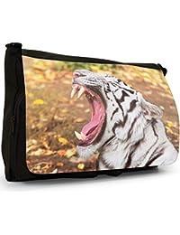 Preisvergleich für Weiße Tiger Große Messenger- / Laptop- / Schultasche Schultertasche aus schwarzem Canvas