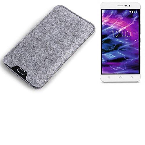 K-S-Trade Filz Schutz Hülle für Medion S5504 Schutzhülle Filztasche Filz Tasche Case Sleeve Handyhülle Filzhülle grau