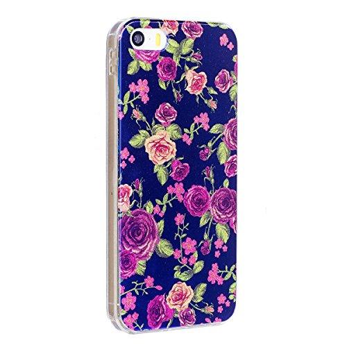 iPhone 6 Custodia Silicone, iPhone 6S Cover TPU, JAWSEU Apple iPhone 6/6S 4.7 Case Caso Bella Luminoso Floreale Brillante Blu Protezione Cristallo Trasparente Custodia Cover Antiurto Ultra Sottile Lis Floreale #6