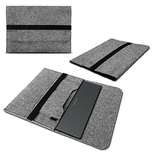 Nauci Laptop Schutzhülle für Medion Akoya S17402 aus Filz mit Innentaschen Sleeve Hülle Tasche Cover 17.3 Zoll Notebook Case Tasche, Farbe:Hell Grau