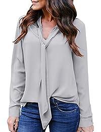 VJGOAL Moda Femenina Elegante sólido de Manga Larga con Cuello en V Casual Tie Camisa de Gasa Blusa Superior
