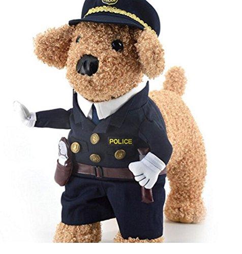 PrutX Haltbares und Bequemes Tragen Haustier Polizei Uniform Black Cat Sheriff Kostüm Katze Hund Kleidung Größe - Sheriff Kostüm Für Hunde
