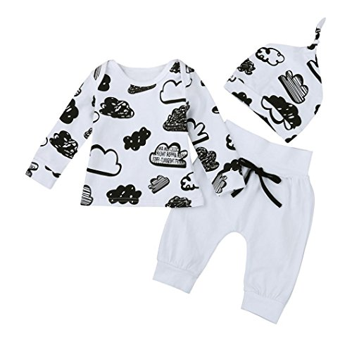Ensembles Bébé Garçons,LMMVPBébé garçon Filles Imprimé Longues Manches Outfits Coton T-Shirt+Longues Pantalons