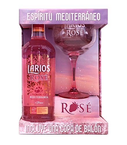 Larios Rosé 70cl - Ginebra Rosa Premium Mediterránea + Copa regalo