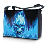 Luxburg® Design Umhängetasche Überschlagtasche College Tasche Studententasche Umhängetasche Schultertasche Daily Bag ca. 45x10x33cm - Motiv: Blaues Feuer Totenkopf