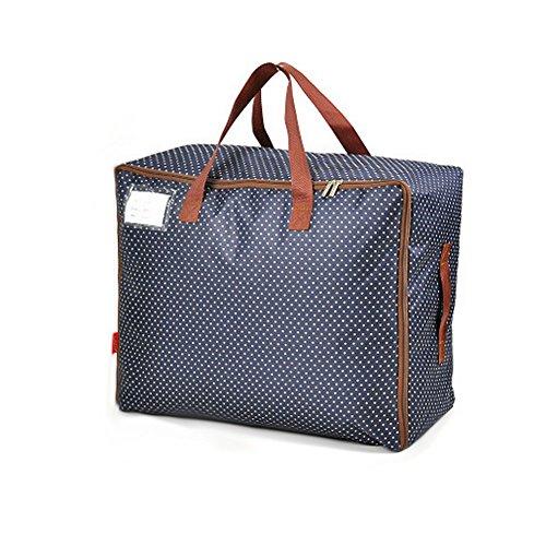 Cusfull Grand Sac de Rangement Stockage Couverture Organisateur Vêtement Imperméable en Oxford Housse de Couette avec Zip - Bleu Foncé