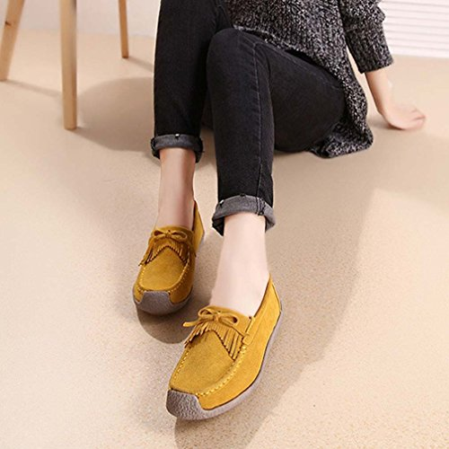 Solshine Women's Suede Bowknot Fringes Loafers Flats Casual Shoes Slip On yellow