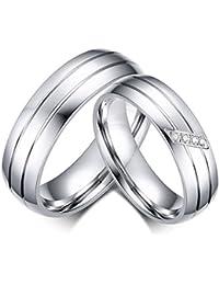 KNSAM - Anillo romano de acero inoxidable para ella y para él, anillos de boda