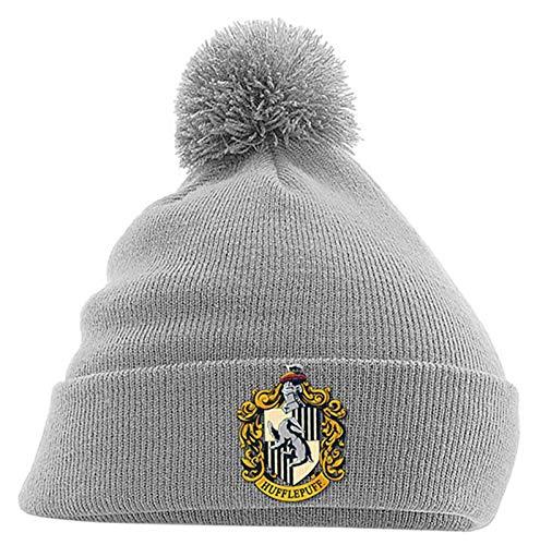 Harry Potter Mütze Beanie Hufflepuff House Crest Hogwarts Nue offiziell Grau