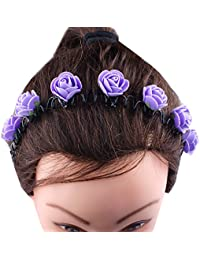 Kabello Multi Colored Flower Headband / Hair Band For Girls And Women (Purple)