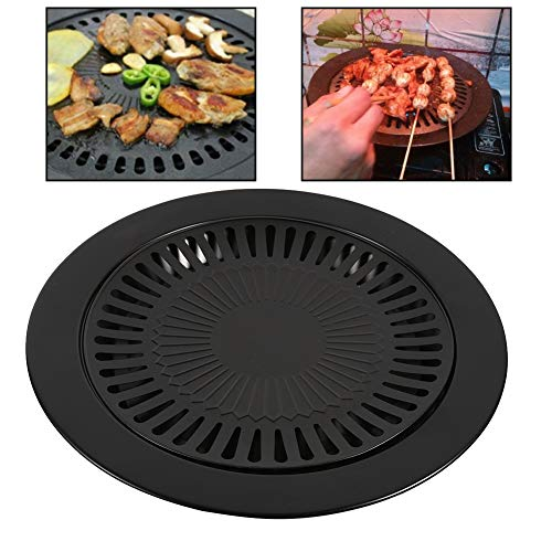 Aigend Grillpfanne - Metall Eisen Nonstick Grill Pan Runde Barbecue Pan Indoor Outdoor Bräter Werkzeugregal -