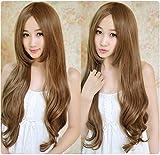 Perücke, gewelltes langes lockiges Haar-Perücke hitzebeständiges synthetisches Haar-Haut-Oberseiten-langes flaumiges Haar-Reparatur-Gesichts-Frisur Frauen Cosplay