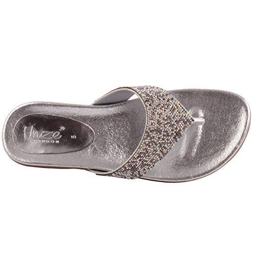 Unze REGALIA Beads Jewel sera del partito di nuovo signore delle donne Carnevale Prom piatto Estate Pantofola Scarpa UK 3-8 Argento