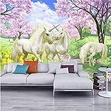 Mural personalizado papel de fantasía europeo cuento de hadas de dibujos animados Unicornio cerezo en flor Mural para niños dormitorio, 450x310 cm