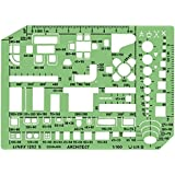 Linex Furniture Template with Furniture and Room Symbols Scale 1-50 230x160mm Tinted Green Ref LXG1263S