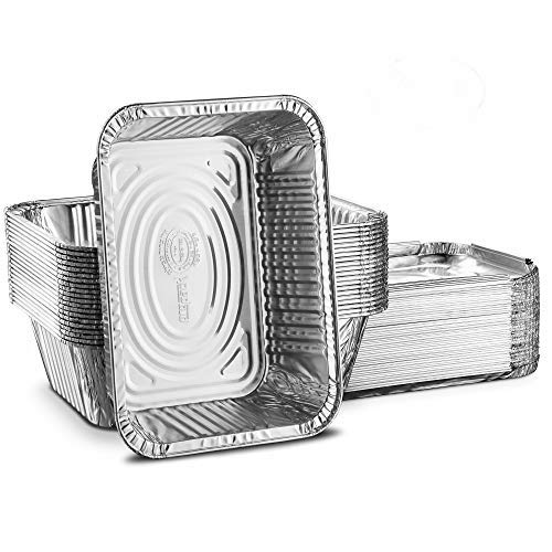 Propack Einweg Aluminium länglich Folie Pfannen, Behälter, mit Folie Deckel, 5lb. Frischhaltedosen 4Stück silber Aluminium-oblong Pan
