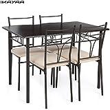 IKAYAA 5PCS Ensembles pour Salle à Manger en Métal Moderne Cuisine Table Chaises Définie pour Meubles de Cuisine 4 Personne 120kg Capacité de Charge