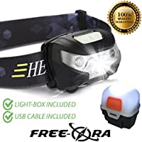 Linterna USB recargable para poner en la cabeza de Free-Ora, impermeable, superbrillante y ligera, cuenta con un con sensor de mano para el encendido y ...