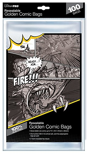 Ultra Pro Golden Wiederverschließbare Comic-Taschen, 19,7 x 26,7 cm -