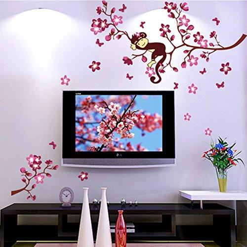 wallpark-linda-mono-durmiente-en-rosa-melocotn-florecimiento-flores-rbol-desmontable-pegatinas-de-pa