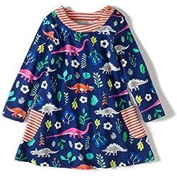 Vestido para Bebé Niñas Otoño Manga Larga Dinosaurios Algodón 5-6 años
