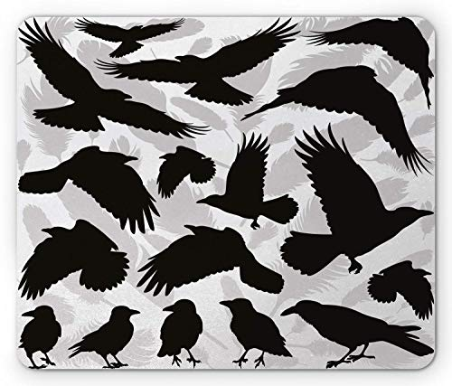 FOSHANSH Black Crow Mouse Pad, Design Illustration with Bird and Feather Silhouettes, Standard Size Rectangle Non-Slip Rubber Mousepad, Black Pale Grey and White -