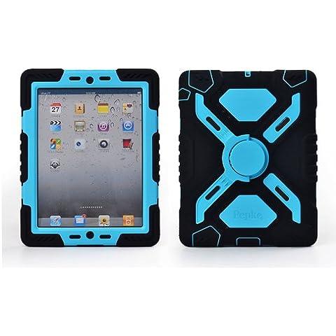 Pepkoo a prueba de choques silicona caso - Carcasa con función atril para iPad mini y iPad mini 2 - Negro y