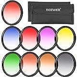 Neewer 58mm Juego completo de filtro graduado lente de color (9piezas) para lentes de cámara con rosca para filtro 58mm–incluye: Rojo, naranja, azul, amarillo, verde, marrón, morado, rosa y gris Filtros ND Filtro + Carry Pounch + Microfibra Paño De Limpieza De Lente