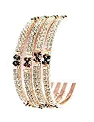 Aria Party Wear Maroon Green CZ Gold Plated 4pc Bangles For Women