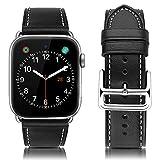 MroTech Cinturino iWatch 44 mm / 42 mm Bracciale iWatch Cinturino Pelle Vera Cinturini di Ricambio per Apple Watch Serie 4, Serie 3, Serie 2, Serie 1 (42mm / 44mm, Nero)