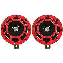 Hornos de parrilla de coche - TOOGOO(R)Hornos (par) de doble parrilla de coche de 12V 139dB nuevo - rojo
