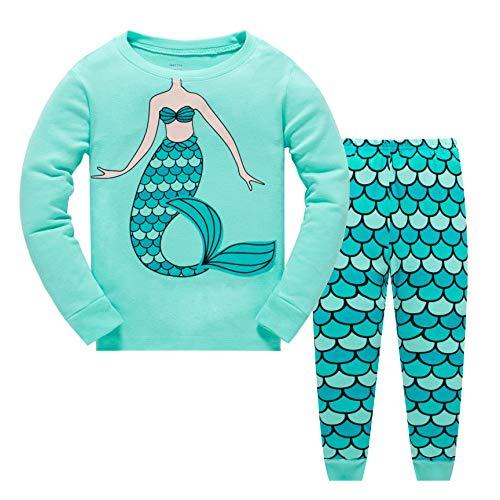 Garsumiss Jungen Mädchen Schlafanzug Weihnachten Kinder Pajama Langarm Herbst Winter Nachtwäsche 98 104 110 116 122 128 134 (104/3 Jahre, Grün/Meerjungfrau 2)