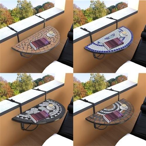 vidaXL Mosaik Klapptisch Balkontisch Hängetisch Balkonhängetisch Tisch Halbrund