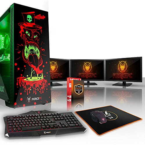 Fierce GOBBLER High-End RGB Gaming PC Bundeln - Schnell 4.1GHz Hex-Core Intel Core i5 8500, 240GB SSD, 2TB HDD, 16GB, NVIDIA GeForce GTX 1070 8GB, Tastatur (QWERTY), Maus, 3x 21.5-Zoll-Monitore 843517
