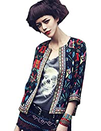 Tongshi Mujeres floral Outwear Parka Trench Coat Jacket