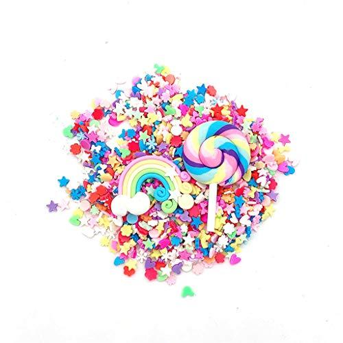 Dapei 3D Fimo Regenbogen Lutscher Scheibe Sterne Gesicht Dekorationen DIY Schleim Machen Versorgung Für Aufhalten Schleim Squeeze Stress Spielzeug Gutes Geschenk Für Kinder (Blau)