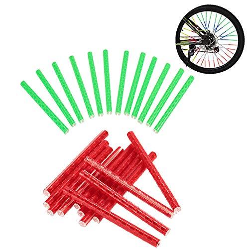 Y Fahrrad Speichen Reflektierende Tube Clip Nacht Sicherheit Warnung Radfahren Bike Felge Reflektierende Rohr Stick Licht Streifen,Grün und Rot ()