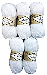 5 X 100 G Alize Glitter 55 4500 Grams Metallic Knit & Crochet ? Wool White ? Wool