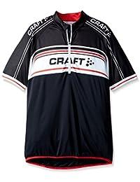 CRAFT Craft3jvélo Logo Junior Maillot de Vélo Mixte Enfant, 8900/Noir/Blanc/Rouge, FR : 14 Ans (Taille Fabricant : 158-164)