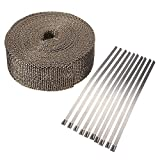 TOOGOO (R) 10m x 5cm x 2mm Band Tete Auspuffrohrisolierung Collector Turbo High Heat Wrap Brown 10 Ketten