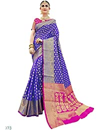 Ethnicjunction Silk Cotton Saree With Blouse Piece (Ej1178-07973_Blue_Free Size)