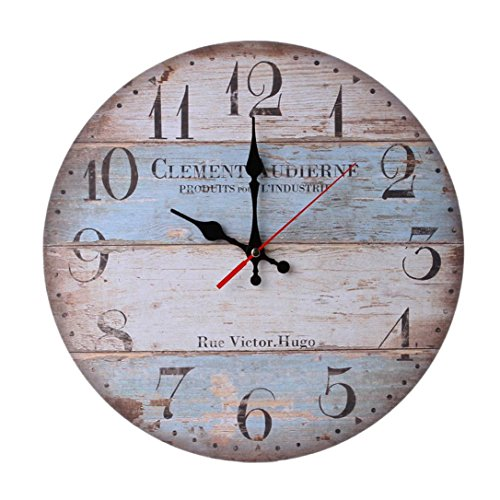 ALIKEEY Horloge Murale en Bois Antique silencieuse Non-Ticking de Style