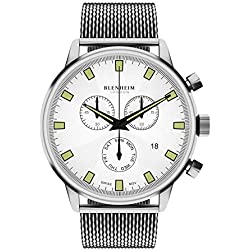 Blenheim London® Chronomaster White Dial Pilot Watch with Stainless Steel Strap