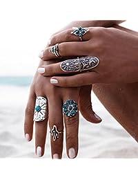 Wrone (TM) 9PCS / Set punky de plata de la vendimia del anillo retro para mujer Geometr¨ªa anillos de dedo del estilo de Boho