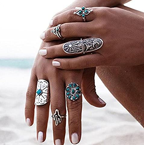 Wrone (TM) 9PCS / Set Argent Punk Vintage Bague Womens Retro Geometry Finger Rings Boho style