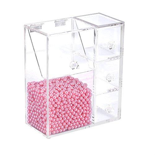 Porte-pinceaux de maquillage, support de rouge à lèvres transparent en acrylique avec 1 fente et 3 tiroirs Boîte étanche à la poussière avec 1500 perles