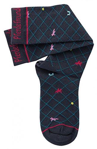 Pferdefreunde Kniestrümpfe Kinder Socken blau - Hohe Mädchenstrümpfe mit Muster, Größe 23-38, K/Sox:35 / 38 (Socken Mädchen Hoch Knie)