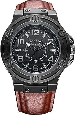 Black Label - MANIS - montre pour homme - Noir - Bracelet cuir marron