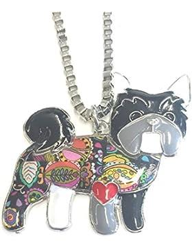 Emaillierter Anhänger Bulldogge Mops mit Panzerkette Halskette mit Anhänger